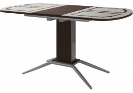 Стол обеденный Петра 110(+32)*70 см стеклянный с графическим рисунком